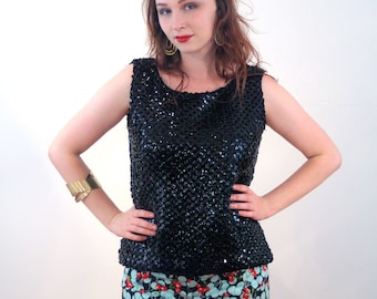 Bedelia, 60s Black Sequin Top M, Glitzy Party Top, Vintage Sequin Blouse, Black Sequined Tank, 1960s Sleeveless Glam Top, Medium