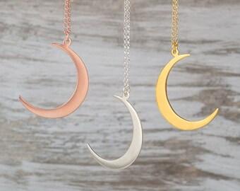 Crescent Moon Necklace Silver Moon Pendant Sterling Silver Moon Jewelry Rose Gold Moon Gold Moon Necklace boho pendant Birthday gift jewelry