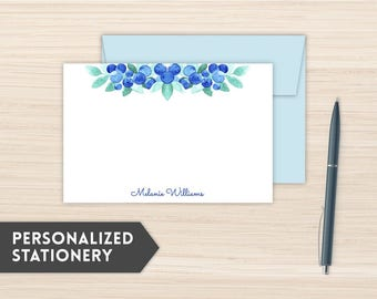 Personalized Stationery | Modern Stationery Set | Custom Stationery Cards | Custom Personal Note Cards | Personal Notecards  | Blueberry