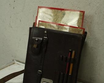Vintage leather map or ordnance bag