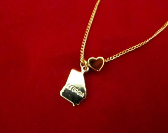 Georgia State Love - Gold Plated Charm Necklace - 18 Inches