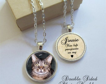 Pet Memorial Necklace, Double Sided Photo Pendant, Personalized Pawprints On My Heart