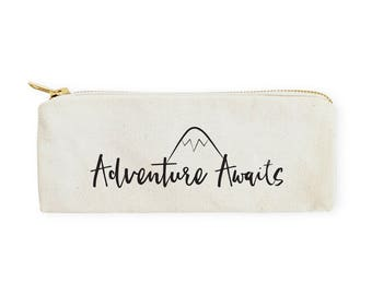 Adventure Awaits Cotton Canvas Pencil Case and Travel Pouch for Back to School, Supplies, Paper Goods, DIY, Zipper Pouch, Makeup Bag, Case