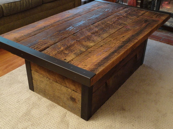 Exceptional Authentic Industrial Coffee Table With Usable Trunk / Chest