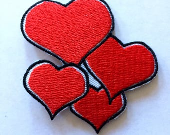 """Red Hearts Cascade Iron on Embroidered patch (W=2.25"""" L=2.5"""")"""