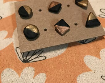 Clay Stud Earrings/Geometric Earrings/Black and Gold/Shapes/Triangle/Square/Circle/Polymer Clay/Bridesmaid Gift/Studs/Earrings