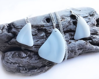 White Beach Glass Jewelry Set - 925 Sterling Silver - Sea Glass Drop Earrings - Sea Glass Pendant - Handmade Beach Glass Necklace