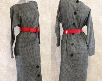Vintage 80s Sleek Black and White Check Tweed Secretary Dress  medium large