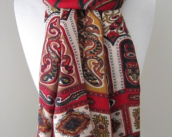 Red scarf, Red patterned scarf, with ornamental patterns, Long scarf, Lightweight scarf, Red shawl, Patterned scarf,