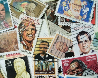 50 Men Postage Stamps, Postage Stamps, Used Stamps, Famous Men, Presidents, Actors, Musicians