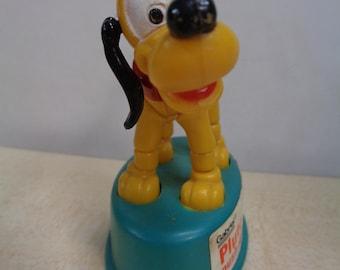 Vintage 70s, PLUTO, Walt Disney Productions, WDP, Push Up,Dancing Thumb Puppet, Plastic Toy,Gabriel,Hong Kong