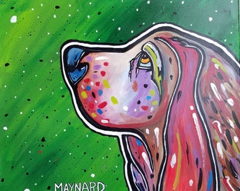 Ain't Nothing But a Hound Dog(Original Painting) Bassett hound, dog lovers, pets, man's best friend, large artwork, vibrant, great gift