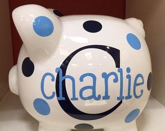 Piggy Bank- Personalized Piggy Bank-large piggy bank-Piggy Bank for boys- piggy bank boys-custom piggy bank- Charlie font