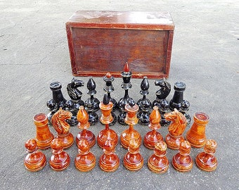Antique chess pieces USSR / Old wooden chessmen / Soviet chess pieces vintage / Rare russian chess figures