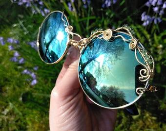 Green Round Sunglasses ~ Wirewrap Retro Sunglasses