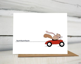 Squirrel Driving Car Holiday Greeting Card