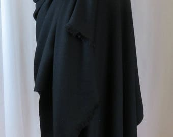 Meditation Shawl in Twill, Black Wool Blanket Scarf, Large Black Wrap, Oversized Scarf in Soft Black Wool, Made to Order