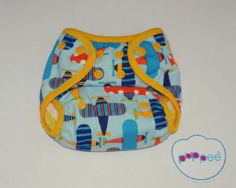 puppee pul diaper cover size S airpalnes snaps