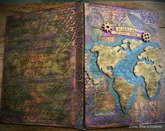 Steampunk World Map Travel Journal, Travel Journal, Personalized Travel Journal, Custom Journal, Personalized sketchbook, Custom Sketchbook