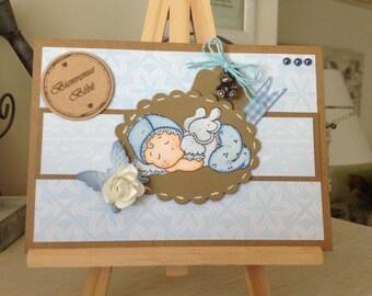 Magnolia baby boy - welcome baby - birth congratulations card