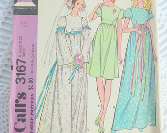 Vintage 1970's McCall's 3167  Sewing Pattern - Misses Wedding Dress or Bridesmaid Dress Size 12 Bust 34 UNCUT