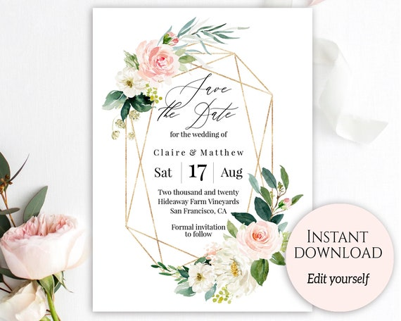 Save the date template save the date cards save the date save the date template save the date cards save the date printable gold blush save the date pdf download diy save the day invites c9 solutioingenieria Gallery