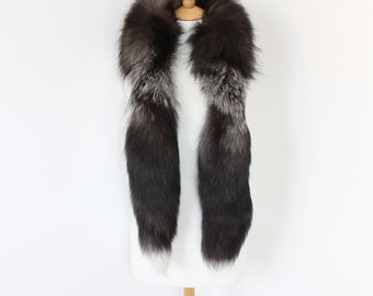 Vintage real silver frosted fox fur tails boa scarf collar wrap stole brown white