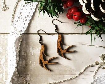 Wooden Antler Earrings