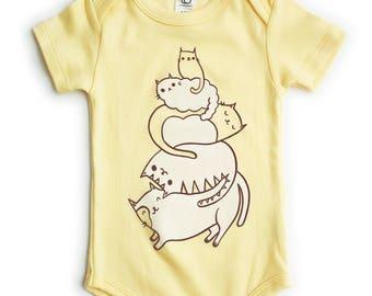 Organic Baby Clothes / Cat Baby Clothing, Organic Baby Shower Gift, Cat Baby One Piece Cat Baby Clothing veterinarian baby