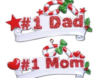 Personalized Christmas Ornament #1 Mom/  #1 Dad, Newborn, Baby Shower