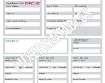 Babysitter's Information & Emergency Checklist Printable PDF
