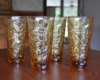 4 - Anchor Hocking Milano Lido Desert Gold 20 Ounce Cooler Glasses
