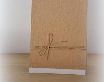 Birthday card man kraft blank with embossed numbers