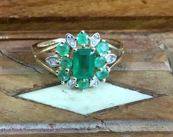 REDUCED price Vintage Emerald and Diamond 14k yellow gold ring