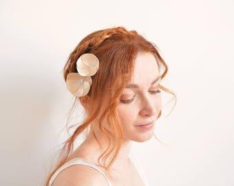 Beige satin flower bridal hair pins - Swarovski rhinestones