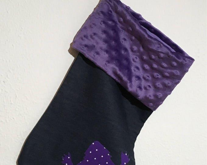 TCU Purple Minky and denim Christmas Stocking RTS TCU Christmas tcu Decor