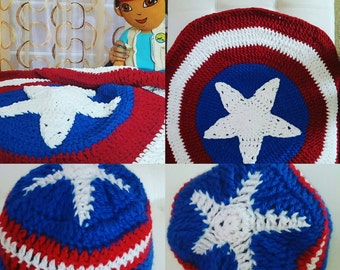 Captain America blanket and beanie. Proceeds go to charity.
