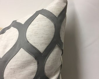Steel and Ivory Pillow Cover in Geometric Embroidered Diamond