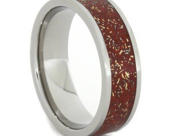 Red Stardust Ring, Titanium Ring With Yellow Gold Shavings, Unique Men's Jewelry