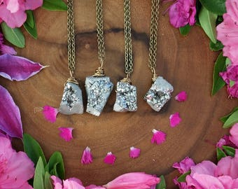 Pyrite druzy necklace, pyrite crystal necklace, silver crystal