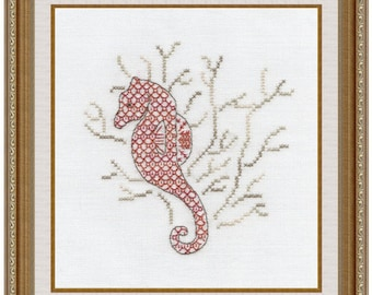 Seahorse Blackwork & Cross Stitch Embroidery Chart