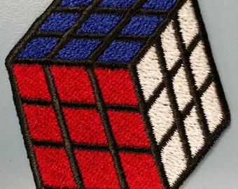 Rubix Cube Embroidered Patch, Iron On Rubix Cube patch