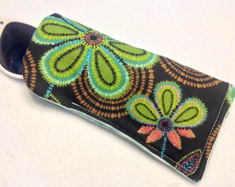 Green,Blue,Brown, flower print Eyeglass/Sunglasses Case. Lined/Padded, Adult Teens, Kids. -Sunglasses not included-
