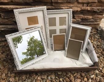 Vintage picture frame set, white and gold picture frames, antique picture frames, shabby chic picture frame set