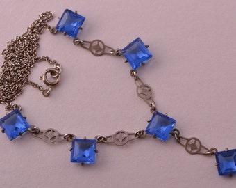 Crystal 1930's Cornflower Blue Czechoslovakian Necklace (867d)