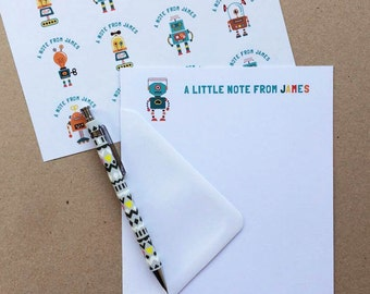 Personalised Robot Writing Set/Notepaper with stickers
