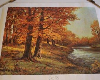 Vintage Robert Wood Autumn Glory Forest Stream Canvas Print 1960s D.A.C NY Bright Colors Like New