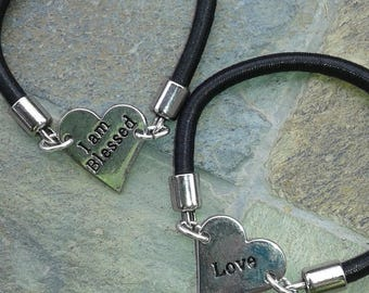 "Silver Stretch ""Love and I am Blessed Reversible "" Bracelet"