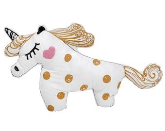 READY TO SHIP! Unicorn Pillow Toy | Golden Unicorn | Cute Bedding Toys
