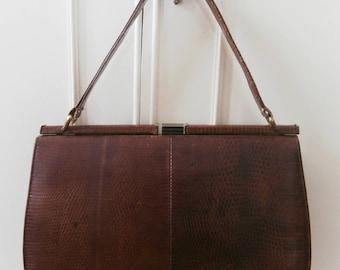 Vintage 1950's/ 1960's Mappin & Webb Brown Lizardskin Ladylike Kelly Hand Bag